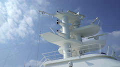 Radar antenna and control tower on a cruise ship Stock Footage