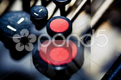 Red Shift key on a typewriter in digital photo editing Stock Photos