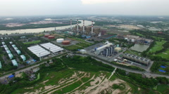 Aerial view of electric power generator thermal in thailand Stock Footage