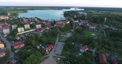 Flying Over Polish Palace Towards Lake Stock Footage