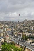 Amman city view with big Jordan flag and flagpole, Amman, Jordan Stock Photos