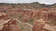 Panning shot of Charyn canyon, Kazakhstan Stock Footage