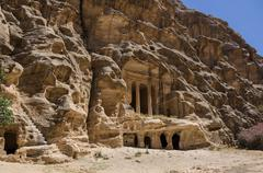 Nabataean delubrum of the Siq al-Barid in Jordan. It is known as the Little P Stock Photos