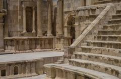 South Theater, Ancient Roman city of Gerasa of Antiquity , modern Jerash, Jor Stock Photos