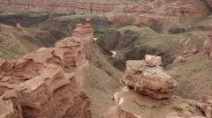 Panning shot of Charyn canyon, Kazakhstan Stock Footage