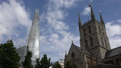 4K London Shard Hotel View by Catholic Church, Famous English Places in UK Stock Footage