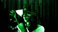 Virtual matrix girl chroma moving side shift Stock Footage