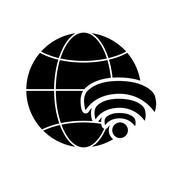 Earth globe diagram and wifi signal icon Stock Illustration