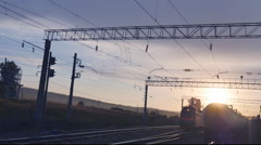 KRASNOYARSK/RUSSIA -  movement of trains on the railway station at dawn Stock Footage