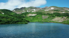 Dolly view of Majestic mountain lake in Kamchatka Stock Footage