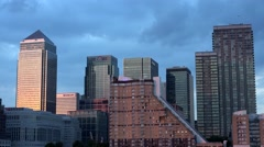 4K Timelapse London Canary Wharf Office Financial Center, Business Building View Arkistovideo