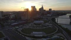 Setting Sun Flares Behind Nashville Skyscraper Skyline. Stock Footage