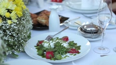 Decorated table for wedding banquet Stock Footage