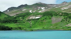 Majestic mountain lake in Kamchatka. Close Stock Footage
