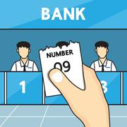 Hand holding ticket queue in the bank. Stock Illustration