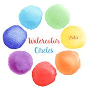 Vector rainbow colors watercolor paint stains Stock Illustration