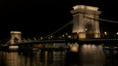 Beautiful Szechenyi  Bridge in Budapest Hungary over river Danube 4K 2160p 30 Stock Footage
