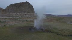 Flying Towards Geyser By A Lake Stock Footage