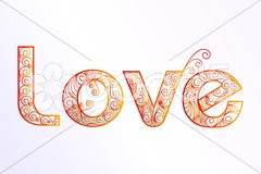 Floral love text Stock Illustration