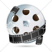 Camera with  reel Stock Illustration