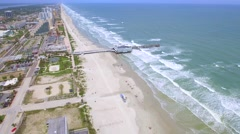 Daytona Florida pier aerial video 4k Stock Footage