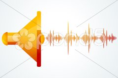 Speaker with music waves Stock Illustration