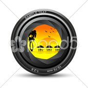 Camera lens with sea beach view Stock Illustration