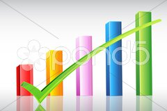 Business graph with right tick Stock Illustration