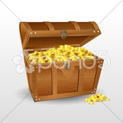 Treasure chest with coins Stock Illustration