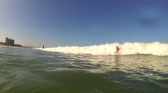Surfer Guy Boogie Boarding Stock Footage