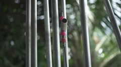 Chinese Feng Shui Wind Chimes, Singing Wind. Slow Motion Stock Footage