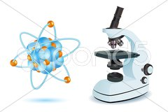 Microscope with atom Stock Illustration