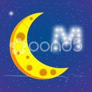 Moon in sky Stock Illustration