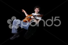 Man with acoustic guitar Stock Photos