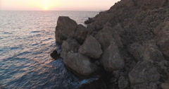 Rocky Shore during Sunset in Malta Stock Footage
