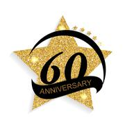 Template Logo 60 Anniversary Vector Illustration Stock Illustration