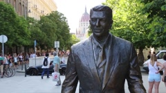 Ronald Reagan Statue in Budapest, Hungary Stock Footage