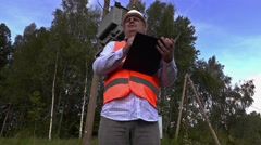 Electrician take transformer technical inspection Stock Footage