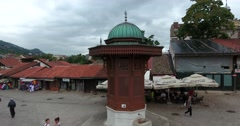Sebilj, Sarajevo´s old town landmark, the shot is moving in a half circle Stock Footage