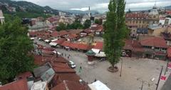 Sarajevo´s old town and it´s landmark Sebilj, the shot is moving towards it Stock Footage