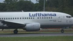 Boeing 737 accelerate on runway 18 Stock Footage