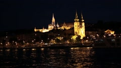Historical landmarks in Budapest glowing at night Stock Footage