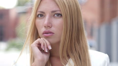 Thinking Pensive Young Beautiful Girl, Outdoor Portrait Stock Footage