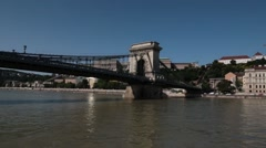 View from boat going under Chain Bridge during the day Stock Footage