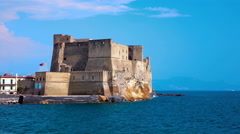 4K Castle in Naples, Italy with Vesuvio in the background Stock Footage