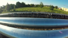 Fly along the pipe. Aerial survey. Old and new pipes Stock Footage