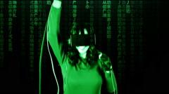 Virtual matrix girl chroma music concert live Stock Footage