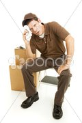Exhausted Mover Takes a Break Stock Photos