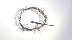 Crown of thorns and nail Stock Footage