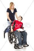 Disabled Boy and Friend Stock Photos